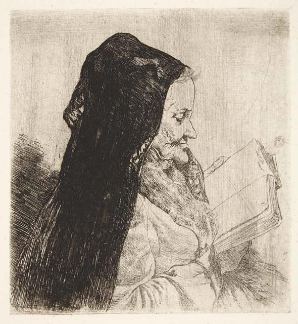 Joseph Stella, 'PORTRAIT OF AN OLD WOMAN READING', circa 1900, Print, Etching, Doyle
