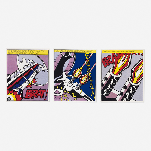 Roy Lichtenstein, 'As I Opened Fire poster (triptych)', 1966, Rago/Wright