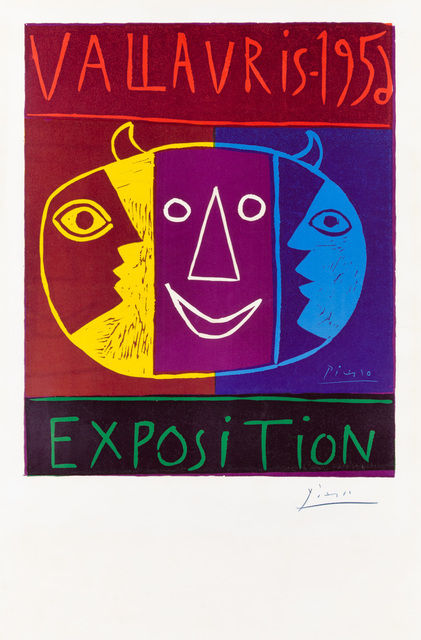"""Pablo Picasso, 'VALLAURIS – 1956 / EXPOSITION', 1956, Print, Original linocut printed in five colors (violet, yellow, red, blue, green) from five blocks on wove paper bearing the """"ARCHES"""" block letter watermark., Christopher-Clark Fine Art"""
