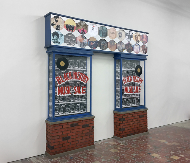 Jamal Cyrus, 'Pride Frieze--Jerry White's Record Shop, Central Avenue, Los Angeles', 2005-2017, Sculpture, Record sleeves, vinyl records, digital prints, ink, watercolor, tape, masonite, gesso, acrylic paint, plywood, wax, Plexiglas, reclaimed salvaged wood, Inman Gallery