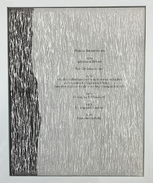 Buzz Spector, 'Marcel Broodthaers', 1997, Drawing, Collage or other Work on Paper, Torn offset printed papers (200 pages) in wood frame, Bruno David Gallery
