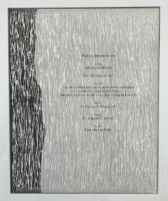 Buzz Spector, 'Marcel Broodthaers', 1997, Bruno David Gallery & Bruno David Projects