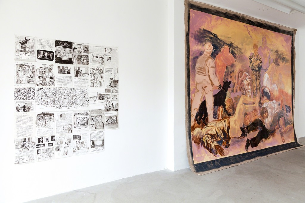 "exhibition view (from left to right): original drawings ""Ezel #3″ and Grande machine #2"", 2003, Stijn Peeters 