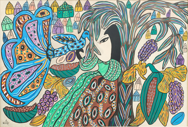 , 'Woman and peacock,' 1973, Elmarsa