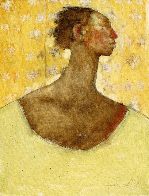 , 'Profile of  Woman on Yellow,' 2018, One Off Contemporary Art Gallery