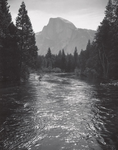 , 'Half Dome, Sunlight on Merced River, Yosemite National Park,' ca. 1935, Scott Nichols Gallery