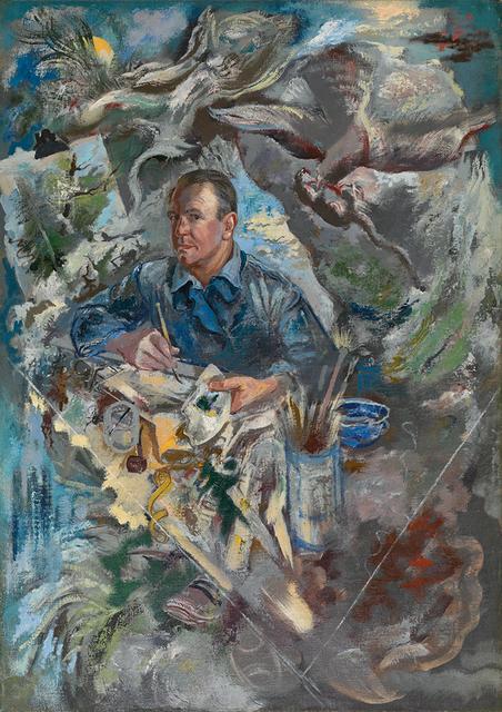 George Grosz, 'Self-Portrait with Bird of Prey and Rat', 1940, David Nolan Gallery