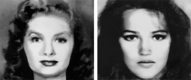 , 'First and Second Beauty Composites (Left: Bette Davis, Audrey Hepburn, Grace Kelly, Sophia Loren, Marilyn Monroe. Right: Jane Fonda, Jacqueline Bisset, Diane Keaton, Brooke Shields, Meryl Streep),' 1982, ClampArt