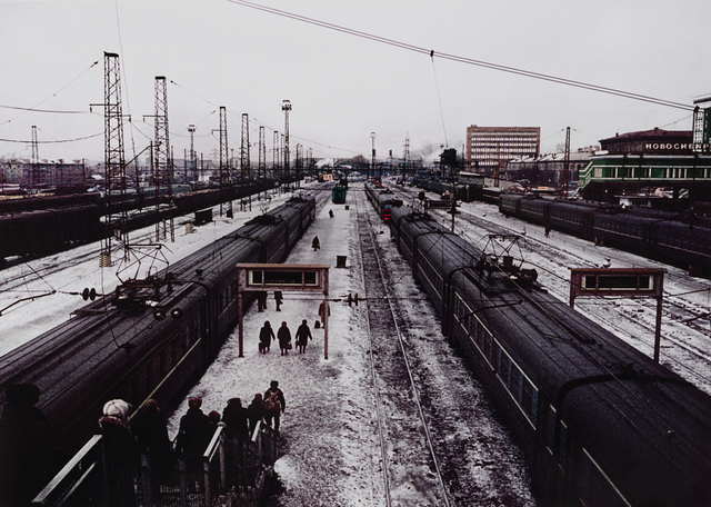 Keizo Kitajima, '14/3/1991 Novosibirsk, Russian SFSR. Trains rest at Novosibirsk station in western Siberia. When the railway in Siberia was constructed, Novosibirsk was then at the intersection of two great transportation routes- the rivers and railways. The city......', 1991-printed 2001, Photography, Chromogenic print, San Francisco Museum of Modern Art (SFMOMA)