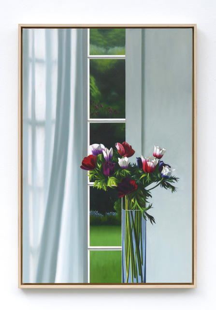 , 'Interior with Anemones and Curtain,' 2019, Leslie Sacks Gallery