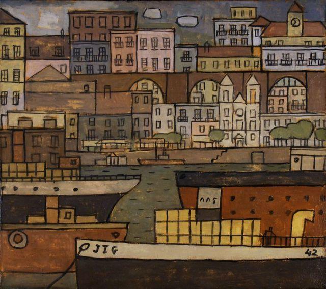 , 'Ciudad con Puente y Puerto constructivo,' 1942, Galeria Sur