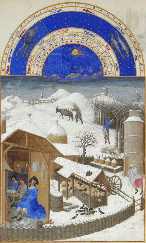 Février, miniature from the Très Riches Heures