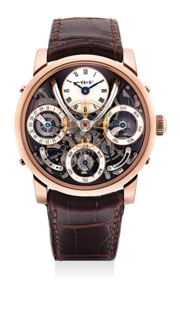 MB & F, 'An exceptional and very rare limited edition pink gold semi-skeleontized perpetual calendar wristwatch with white enamel subsidiary dials, flying balance wheel, power reserve and leap year indication, warranty and box, numbered 25 of a limited edition of 25 pieces', 2016, Phillips