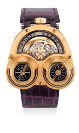 A fine and rare pink gold and titanium three-dimensional wristwatch with inverted movement, date ring, day-night indicator, International Warranty and presentation box