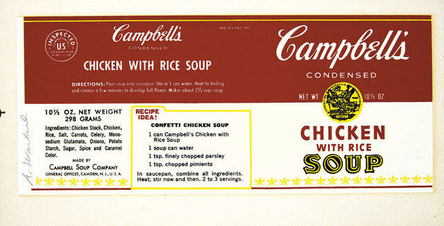 Andy Warhol, 'Campbell's Chicken with Rice Soup Label', 1966, Christie's