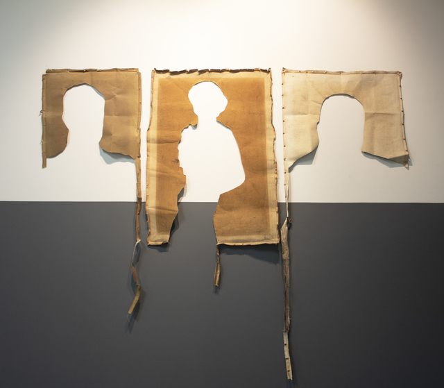 Jose Luis Landet, 'Retrato Reverso/Reverse Portait', 2019, Installation, Oil on canvas fragments (1940 -1970), newsprint, spray paint, charcoal, and glue on canvas, LaCa Projects