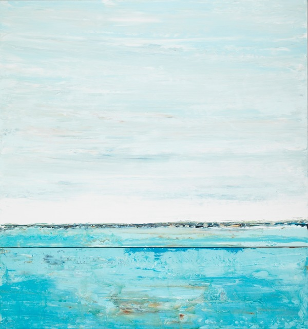 """John Schuyler, '""""Eterno #19"""" Abstract mixed media painting in turquoise blues', 2010-2017, Eisenhauer Gallery"""