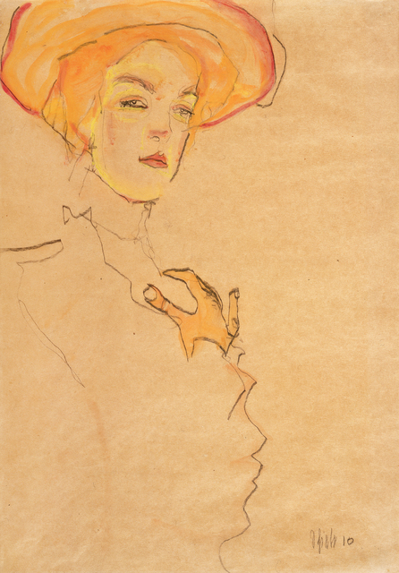 , 'Portrait of a Woman with Orange Hat (Gerti Schiele),' 1910, Galerie St. Etienne