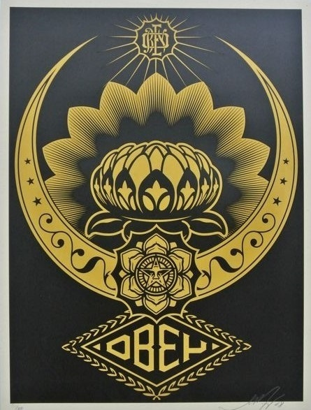 Shepard Fairey, 'Lotus ornament (gold/black)', 2008, DIGARD AUCTION