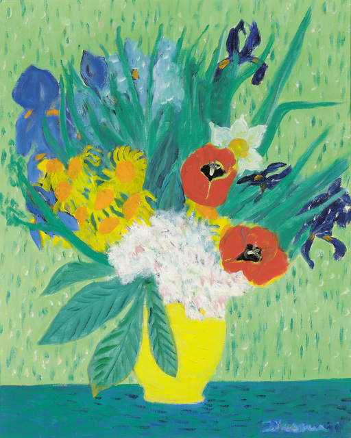 , 'Colourful Flower Bouquet against a Green Background,' ca. 1970, Galerie Bei Der Albertina Zetter