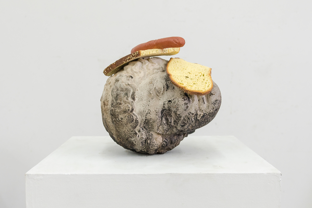 Tony Matelli, 'Bread Head', 2018, Sculpture, Cast stone, painted bronze, PRIMARY