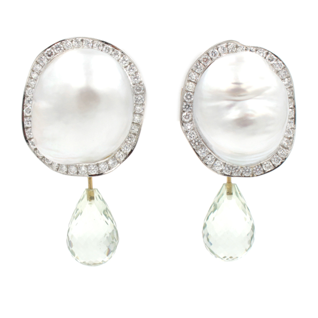 , 'South Sea Baroque Pearl Diamond Gold Earrings,' , form & concept