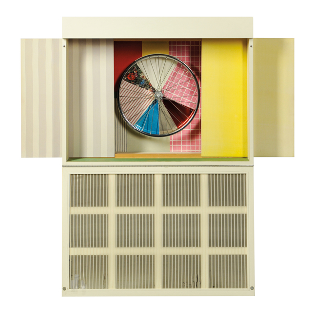 Robert Rauschenberg, 'Publicon--Station IV, from Publicons', 1978, Mixed Media, Mixed media multiple including lacquered wood with collage of fabrics, bicycle wheel, enamel over polished aluminum, Plexiglas, and fluorescent light fixture, Skinner