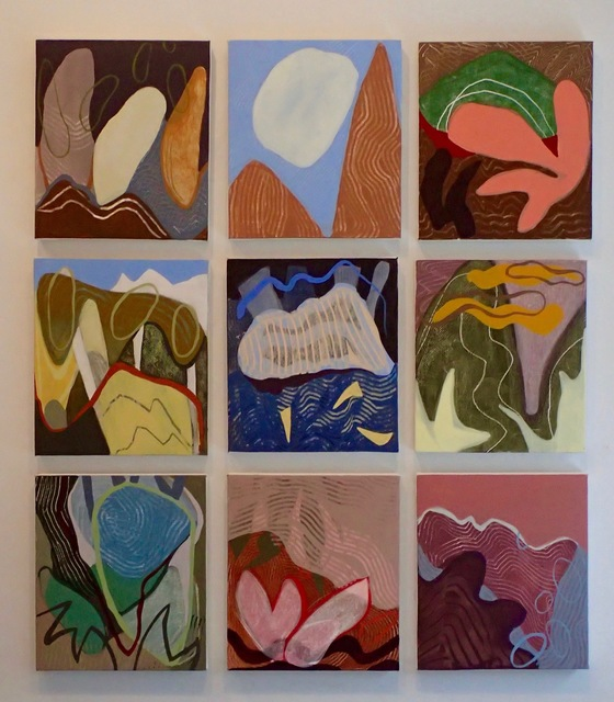 , 'Birdcalls, 9 separate panels,' 2014, InLiquid