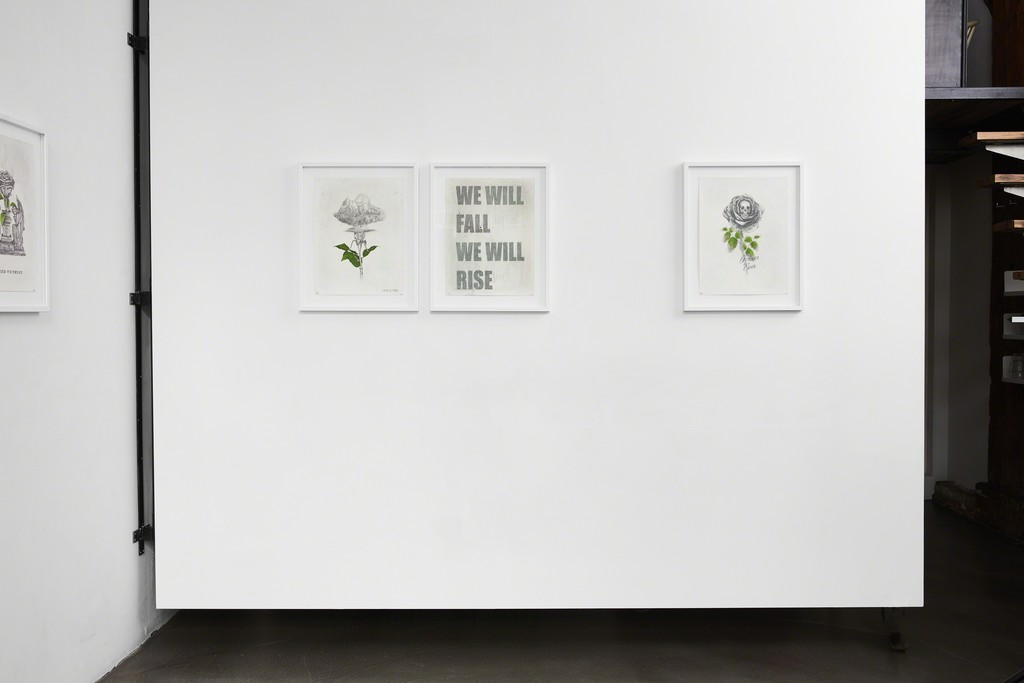 Ludo, 'The Ten Commitments' installation view at The Garage, Amsterdam. From left on back wall, 'Fall Rise Part I' & 'Fall Rise Part II' diptych, 'Pray the Lord', 'Wish You Were Here' and 'In Greed We Trust'.
