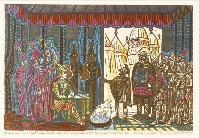 Edward Bawden, 'THE AMBASSADORS MEET HAMILCAR: THE PASS OF THE BATTLE-AXE' - AN ILLUSTRATION FOR 'SALAMMBO', The Limited Editions Club of New York', 1960, Sworders