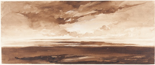 Francis Danby, 'Panorama of the Coast at Sunset', ca. 1813, Drawing, Collage or other Work on Paper, Brown wash with white heightening on wove paper, National Gallery of Art, Washington, D.C.