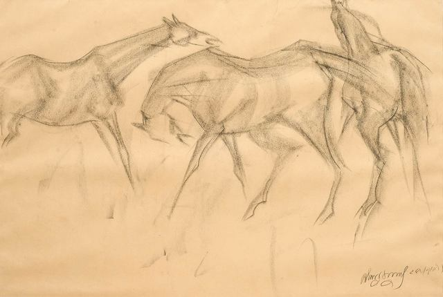 """, 'Early Horses VI, Charcoal Drawing, Brown, Black by Master Indian Artist """"In Stock"""",' 1959, Gallery Kolkata"""