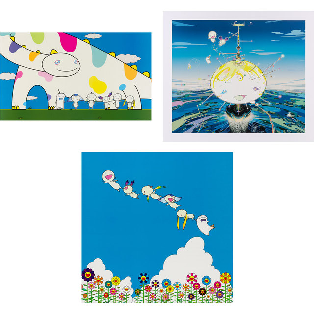 Takashi Murakami, 'YOSHIKO AND THE CREATURES CAME FROM PLANET 66; MAMU CAME FROM THE SKY; PLANET 66: SUMMER VACATION', 2003 (2) and 2004, Doyle