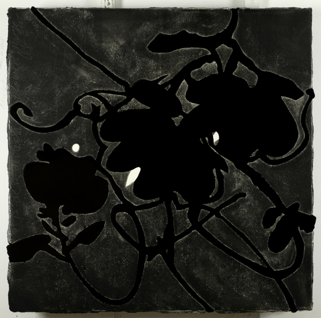 Donald Sultan, 'Black Lantern Flowers May 20, 2009', 2009, Painting, Enamel, Tar, and Spackle on Tile over Masonite, Eduardo Secci Contemporary