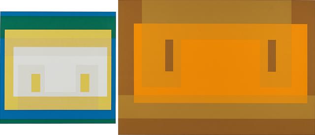 Josef Albers, 'Two works of art: Variant II, from Ten Variants; Red Orange Wall', Print, Screenprint in colors, Rago/Wright