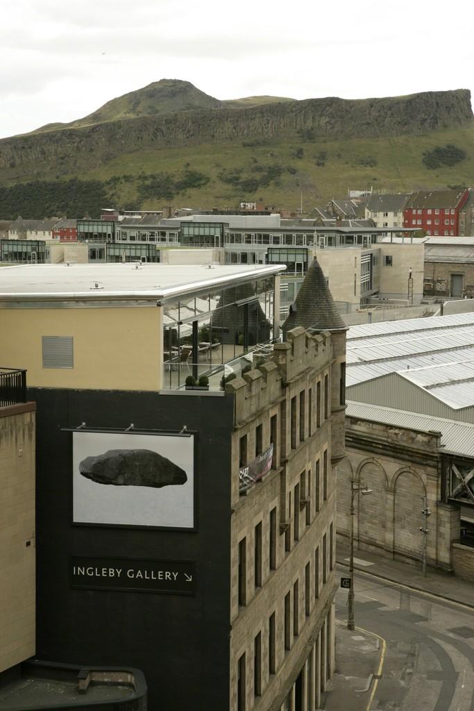 Installation view of Tacita Dean 'Floating Dolmen', 2009 13.3ft x 10ft billboard installation 4 August 2009 - 26 November 2009