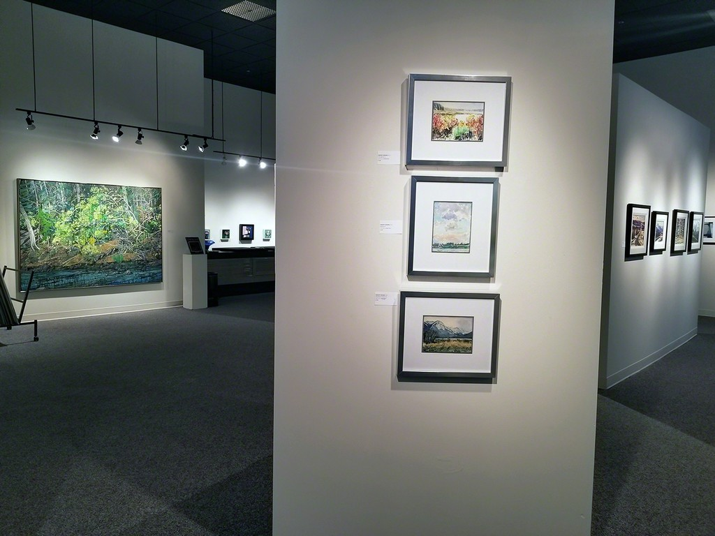 well-known Saskatchewan painter, Dorothy Knowles captivates the sky and summer light in these three lovely watercolours.  Ted Godwin, of the Regina Five, sets the backdrop with his reflections of light in his waterscapes