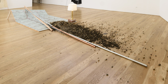 ", 'Wallpaper, Wood Sheet, Dirt from the Film Set of ""Intolerance,"" Lamp, Bricks, Wood and Steel,' 2017, Samuel Freeman"