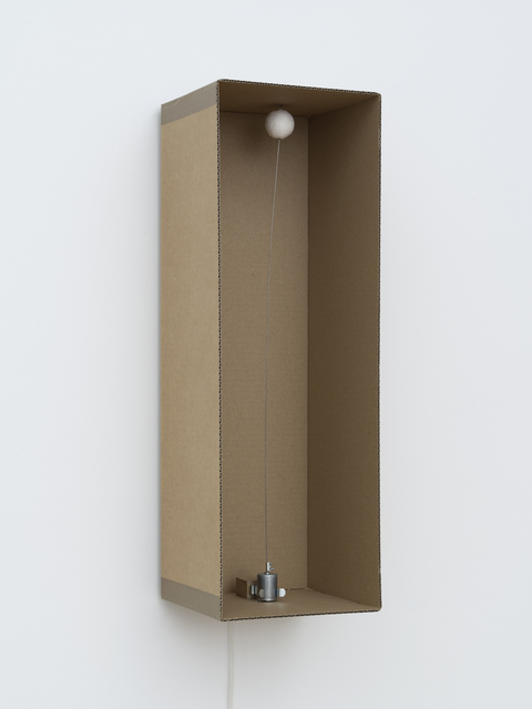 , '1 prepared dc-motor, cotton ball, cardboard box 60x20x20cm,' 2013, bitforms gallery