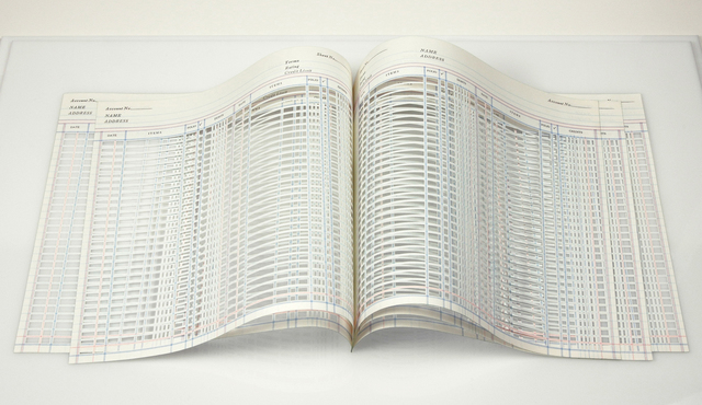 Jill Sylvia, 'Untitled (American Book)', 2010, Sculpture, Hand-cut ledger paper, Eleanor Harwood Gallery