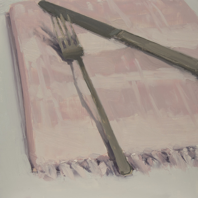 , 'Fork and Knife on Pink Napkin,' , March