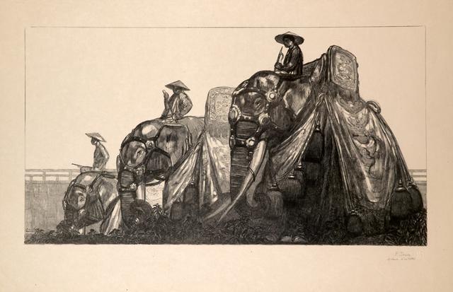 , 'Elephants and Hué,' 1937, Galerie Marcilhac