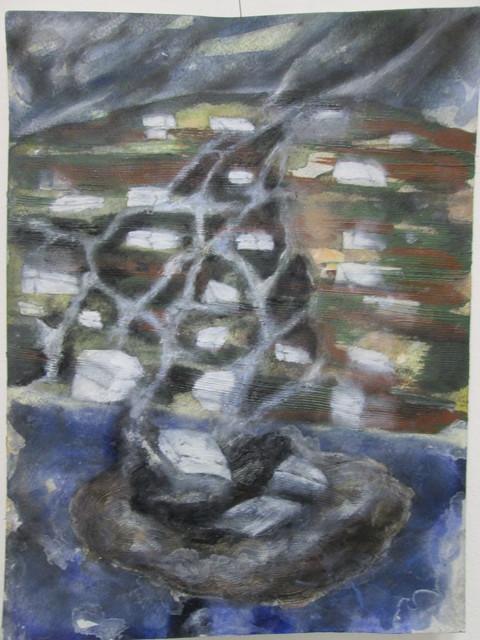 Magdalena West, 'Statischer Ausrutscher', 2014, Painting, Aquarell,Kohle,Acryl,Ölfarbe,Pastellkreide auf Papier, galerie burster