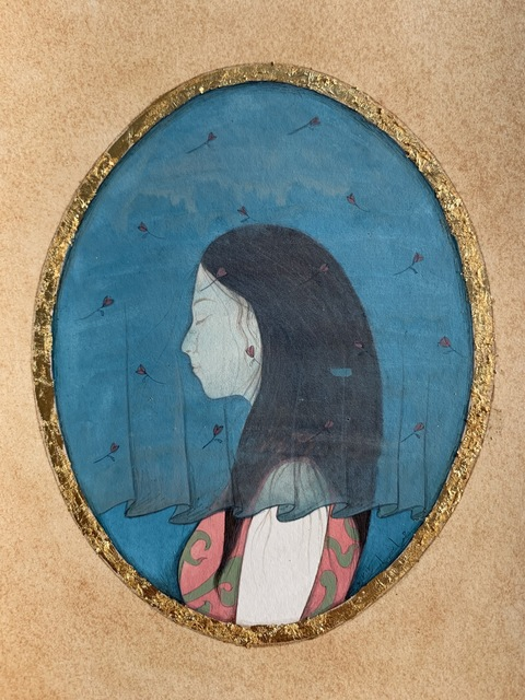 Hiba Schahbaz, 'Maheen', 2011, Painting, Gouache and watercolor, tea and gold leaf on Wasi, Foley Gallery