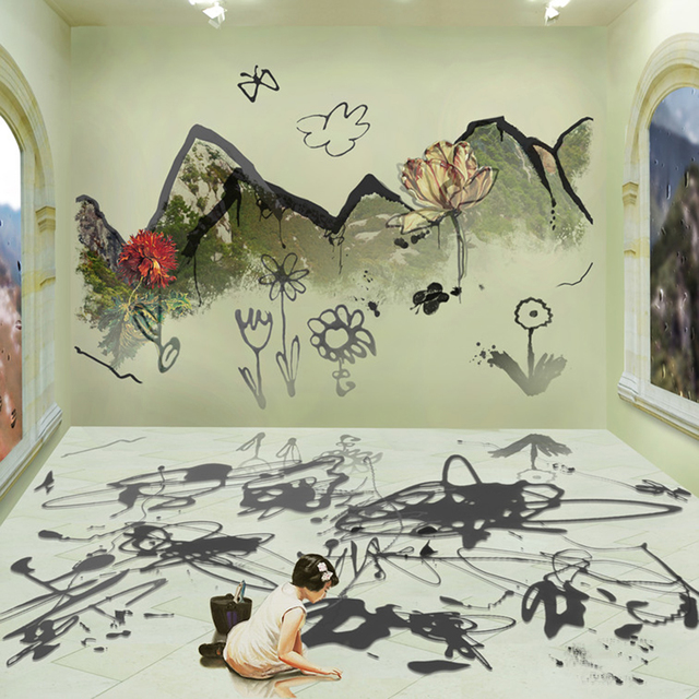 Joonsung Bae, 'The Costume of Painter - Doodling on the wall S, little girl, a square', 2012, Gallery Skape