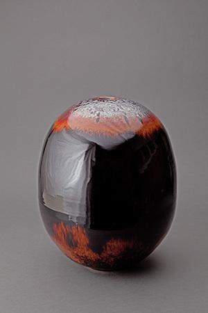 , 'Egg vase, mirror black glaze with partridge feathers,' , Pucker Gallery