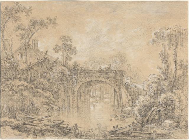 François Boucher, 'Landscape with a Rustic Bridge', ca. 1740, National Gallery of Art, Washington, D.C.