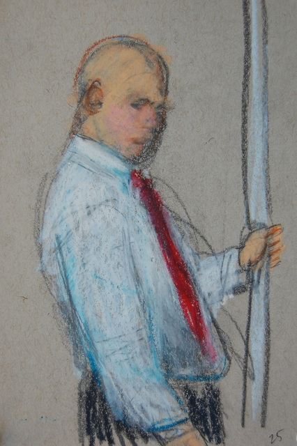 , 'Man with Red Tie with Hand on Pole,' 2016, Ground Floor Gallery