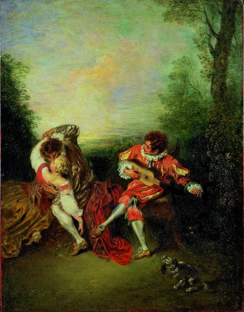 , 'La Surprise: A Couple Embracing While a Figure Dressed as mezzetin Tunes a Guitar,' 1718-1719, Royal Academy of Arts