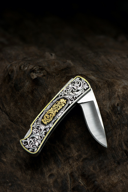 Buddy Austin, 'Hand-engraved Knife with Gold Inlay', 2018, Fashion Design and Wearable Art, Hand-Engraved Steel with Gold Inlay, The Crown Collection